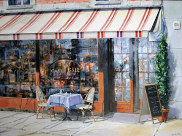 Cafe 6 and 12 2008 52x64 Original Painting - Viktor Shvaiko