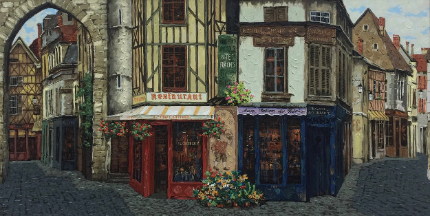 Salon Gourmet, L'Orchidee Embellished  1998 Limited Edition Print by Viktor Shvaiko
