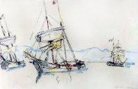 Three Boats Watercolor 1913 26x25 Watercolor by Paul Signac - 0