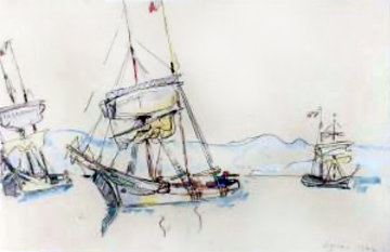 Three Boats Watercolor 1913 26x25 Watercolor - Paul Signac