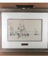 Three Boats Watercolor 1913 26x25 Watercolor by Paul Signac - 4