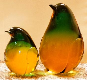 2 Pieces Penguins Art Glass Sculpture Unique 8 in Sculpture - Pino Signoretto