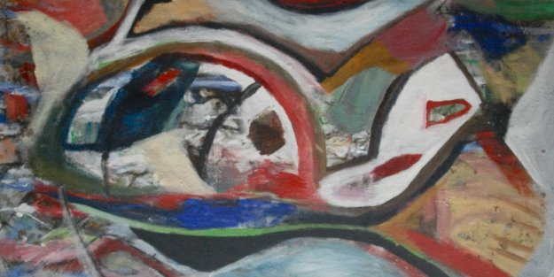 Untitled Abstract Painting 2011 39x78 Original Painting by Theos Sijrier