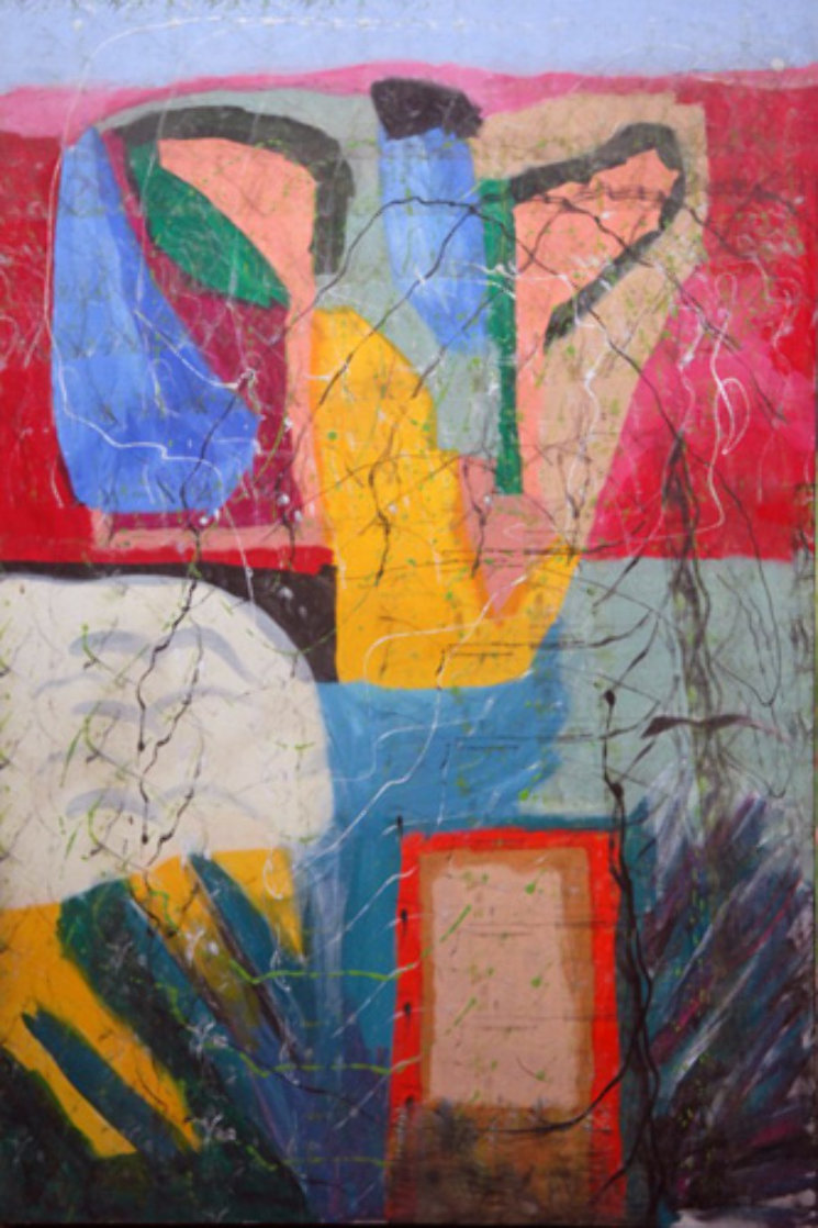 The Garden Around the House 2011 59x39 Super Huge Original Painting by Theos Sijrier