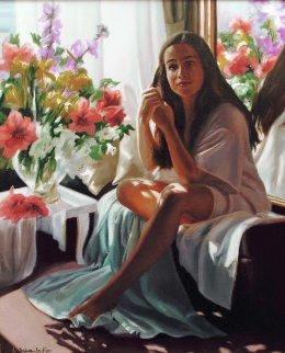 Reflexion 2001 34x30 Original Painting - Liliane Silva Le Fur