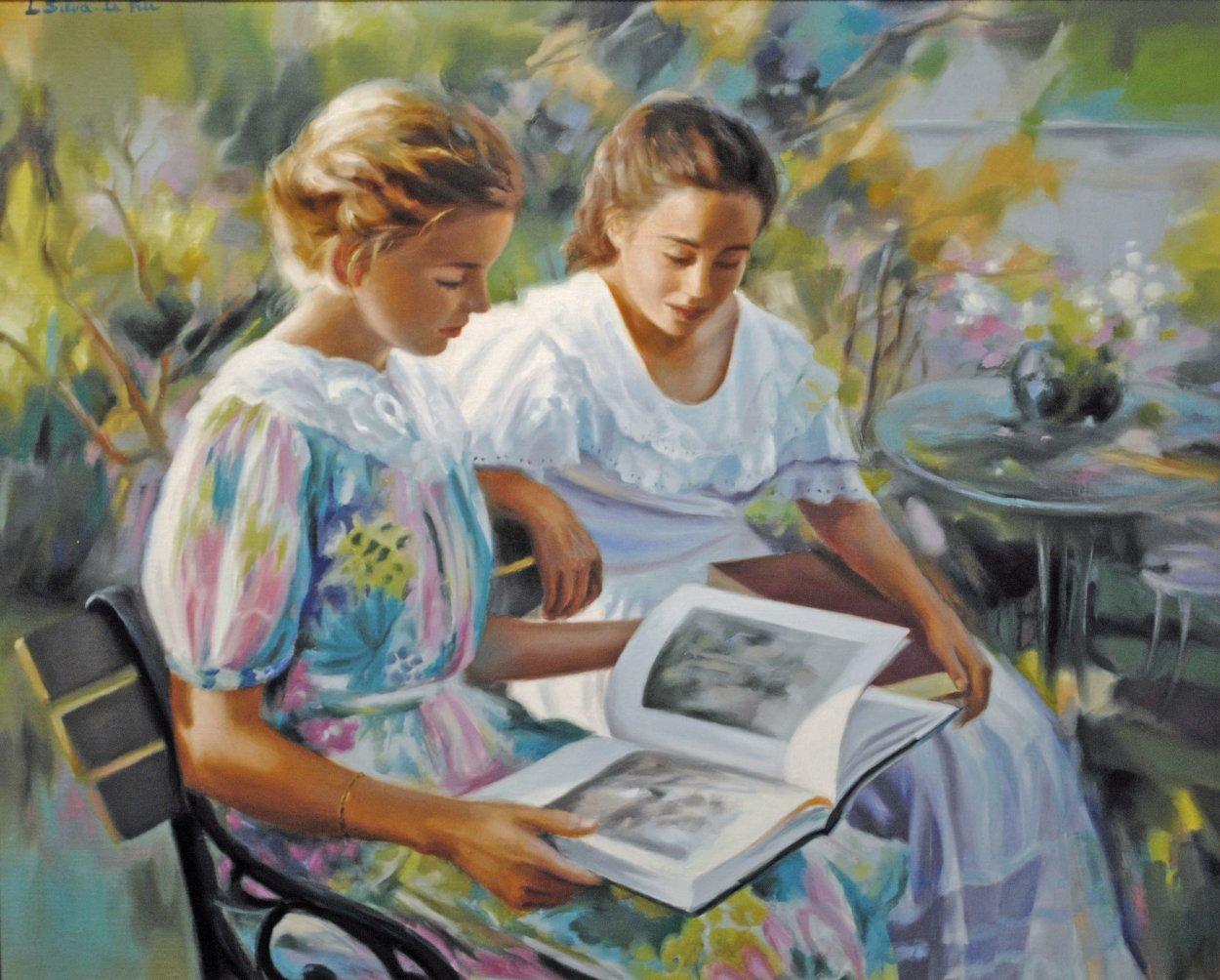 Jeunes Filles Au Jardin 2002 30x34 Original Painting by Liliane Silva Le Fur