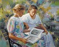 Jeunes Filles Au Jardin 2002 30x34 Original Painting by Liliane Silva Le Fur - 0