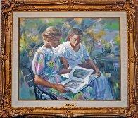 Jeunes Filles Au Jardin 2002 30x34 Original Painting by Liliane Silva Le Fur - 1