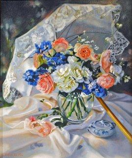 Le Bouquet a l'ombrelli  31x27 Original Painting - Liliane Silva Le Fur