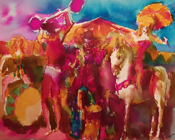 Circus Watercolor  1975 23x27 Watercolor - Nicola Simbari