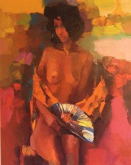 Girl With Fan 1964 43x36 Super Huge Original Painting - Nicola Simbari