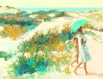 Calabrian Beach 1966 37x48 Original Painting - Nicola Simbari