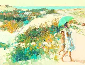 Calabrian Beach 1966 37x48 Original Painting by Nicola Simbari