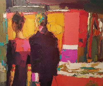 Rue Bonaparte 1971 19x23 Original Painting - Nicola Simbari