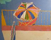 Terrace in Capri 1964 22x30 Original Painting by Nicola Simbari - 1