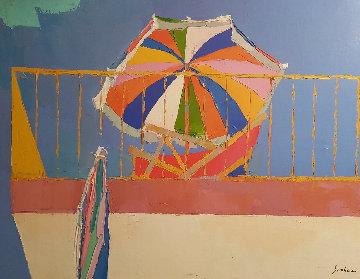 Terrace in Capri 1964 21x29 Original Painting by Nicola Simbari