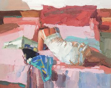 Pink And Red  37x45 Original Painting by Nicola Simbari