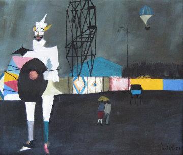 Untitled Clown 1958 22x25 (Early) Original Painting by Nicola Simbari