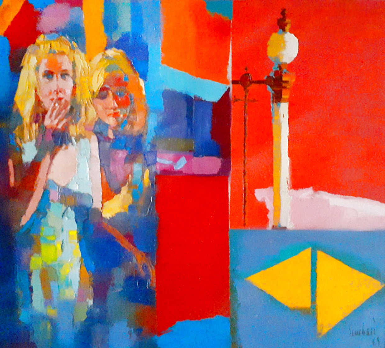 Red Room 44x44 Super Huge Original Painting by Nicola Simbari