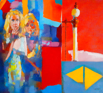 Red Room 44x44 Super Huge Original Painting - Nicola Simbari