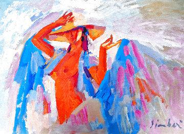 Selene 1980 31x47 Super Huge Original Painting - Nicola Simbari