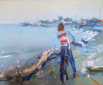 Lavino, Italy 1975 38x42 Super Huge Original Painting - Nicola Simbari