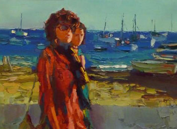 Terracina - Fare La Passegiata, Italy 1970 31x39 Original Painting - Nicola Simbari