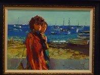 Terracina - Fare La Passegiata, Italy 1970 31x39 Huge Original Painting by Nicola Simbari - 3