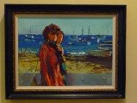 Terracina - Fare La Passegiata, Italy 1970 31x39 Huge Original Painting by Nicola Simbari - 2