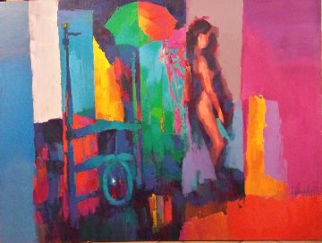 Mysterious Room 1984  47x62 Original Painting - Nicola Simbari