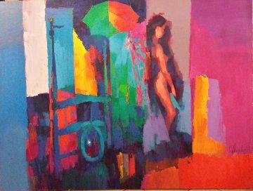 Mysterious Room 1984  47x62 Huge Original Painting - Nicola Simbari