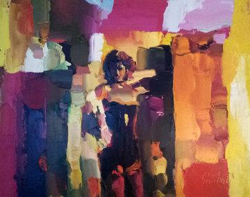 Danseuse Du Crazy  1972 32x39 Huge Original Painting - Nicola Simbari