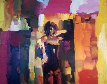 Danseuse Du Crazy  1972 32x39 Super Huge Original Painting - Nicola Simbari