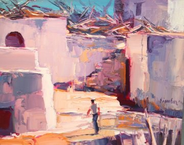 Scalinata a Panarea 1963 15x19 Original Painting - Nicola Simbari