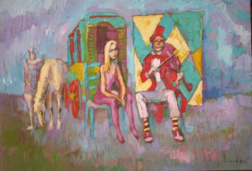 Clown With Violin 1975 27x39 Original Painting - Nicola Simbari