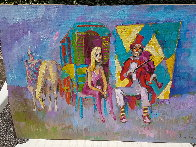Clown With Violin 1975 27x39 Original Painting by Nicola Simbari - 1