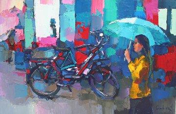 Autumn in Paris 1981 35x23 Original Painting by Nicola Simbari