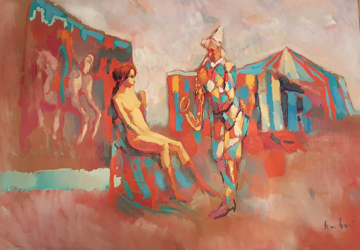 Clown With Saxophone 1975 27x39 Huge Original Painting by Nicola Simbari