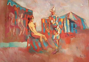 Clown With Saxophone 1975 27x39 Original Painting by Nicola Simbari