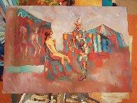 Clown With Saxophone 1975 27x39 Huge Original Painting by Nicola Simbari - 1