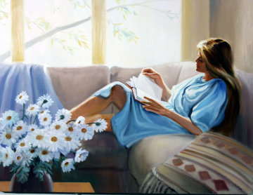 Quiet Moments II 26x34 Original Painting - Hal Singer