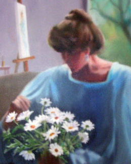Artst's Model Resting 1996 16x20 Original Painting - Hal Singer