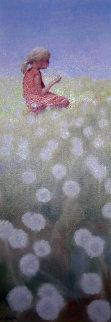 Dandelions 1996 22x8 Original Painting - Hal Singer
