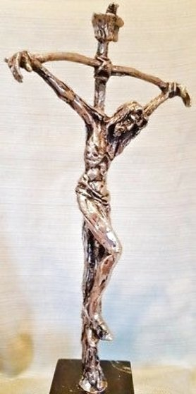 Bowed Cross Silver Plated Bronze Sculpture Unique 14 in Sculpture by Gib Singleton