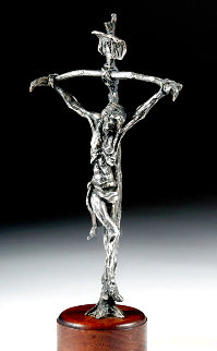Bowed Cross Silver Plated Bronze Sculpture Unique 14 in Sculpture - Gib Singleton