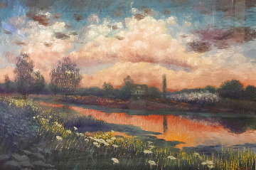 Sunset Reflected On Water 45x58 Huge Works on Paper (not prints) - Greg Singley
