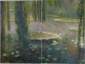 In the Shadow of Water Lilies Diptych 36x48 Original Painting - Greg Singley