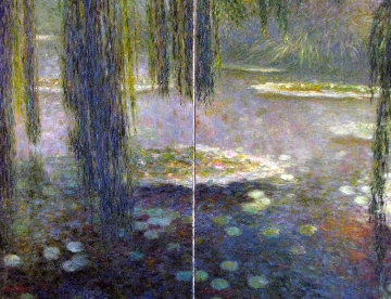 In the Shadow of Water Lilies Diptych 2000 36x48  Huge Original Painting - Greg Singley