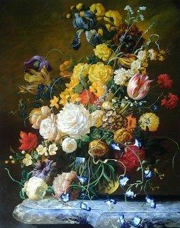 Antique Floral Still Life 40x48 Original Painting - Gyula Siska