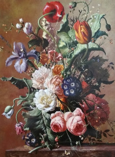 Bouquet of Flowers 2014 33x25 Original Painting - Gyula Siska